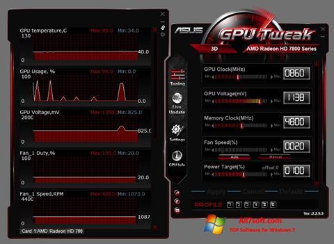 Captură de ecran ASUS GPU Tweak pentru Windows 7