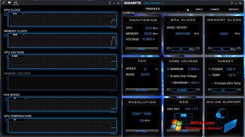 Captură de ecran GIGABYTE OC Guru pentru Windows 7