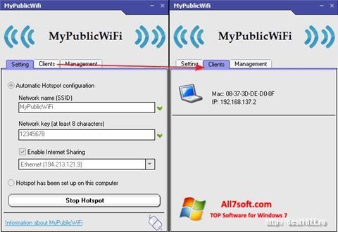 Captură de ecran MyPublicWiFi pentru Windows 7