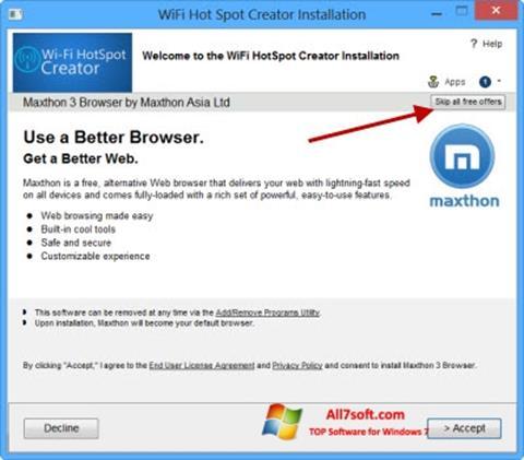 Captură de ecran Wi-Fi HotSpot Creator pentru Windows 7