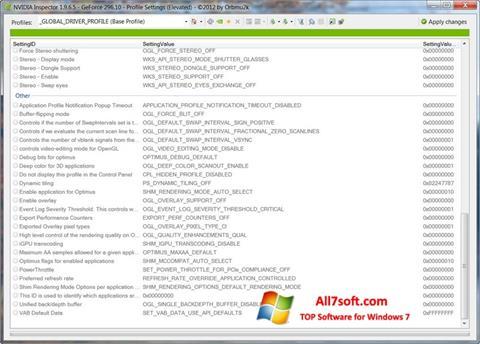 Captură de ecran NVIDIA Inspector pentru Windows 7