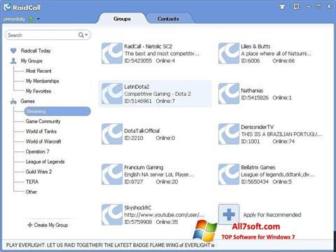 Captură de ecran RaidCall pentru Windows 7