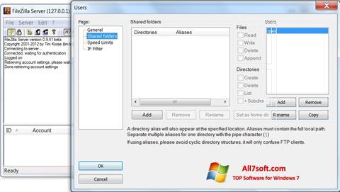 Captură de ecran FileZilla Server pentru Windows 7