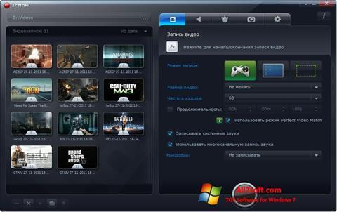 Captură de ecran Mirillis Action! pentru Windows 7