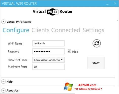 Captură de ecran Virtual WiFi Router pentru Windows 7