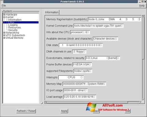 Captură de ecran PowerTweak pentru Windows 7