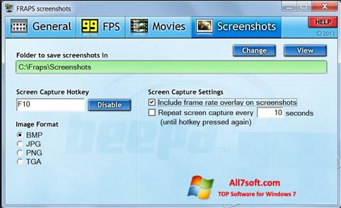 Captură de ecran Fraps pentru Windows 7