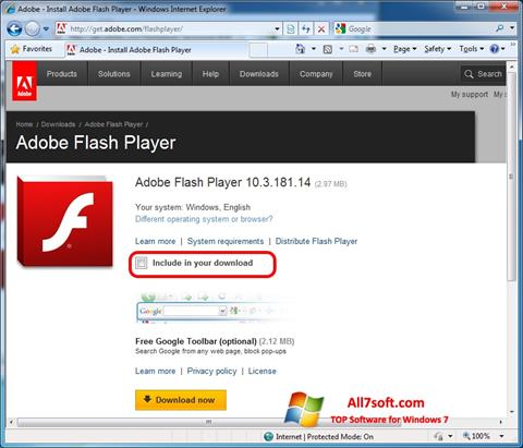 Captură de ecran Adobe Flash Player pentru Windows 7