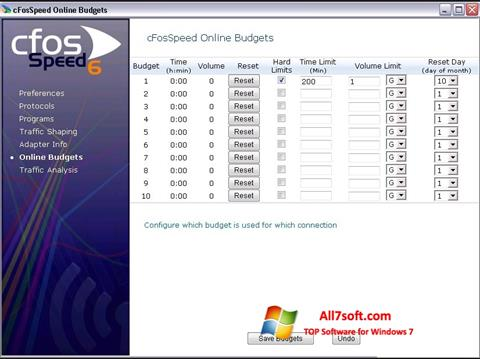 Captură de ecran cFosSpeed pentru Windows 7