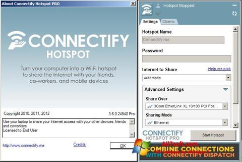 Captură de ecran Connectify pentru Windows 7