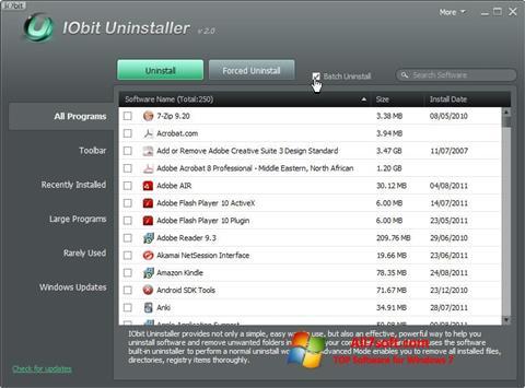Captură de ecran IObit Uninstaller pentru Windows 7