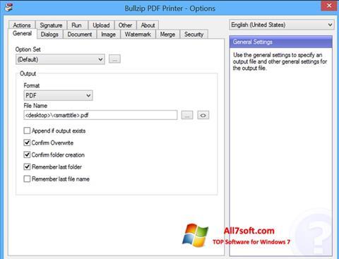 Captură de ecran BullZip PDF Printer pentru Windows 7