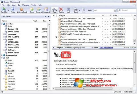 Captură de ecran Mozilla Thunderbird pentru Windows 7