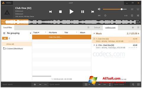 Captură de ecran AIMP pentru Windows 7