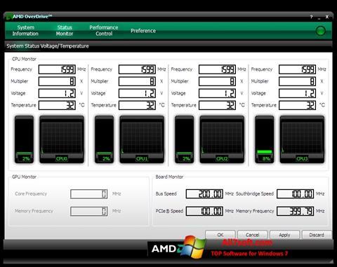 Captură de ecran AMD Overdrive pentru Windows 7