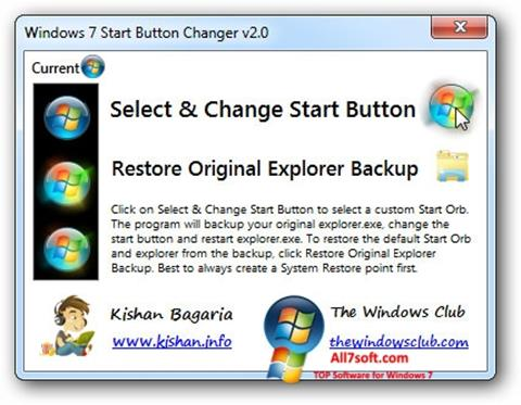Captură de ecran Windows 7 Start Button Changer pentru Windows 7